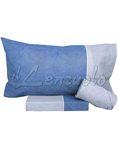 Bassetti Lenzuola matrimoniali Completo DELF in Puro Cotone Colore Blu