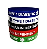 Diabetic Silicone Bracelets Type 1 Insulin Dependent Adult Size (5 Pack) 7.8' Wristband for Men Women