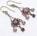Purple Swarovski Crystal Small Chandelier Earrings