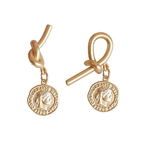 Women's long earrings Vintage gold coin portrait knotted asymmetric high-end earrings 925 sterling silver earrings beautiful package Can be used as a gift