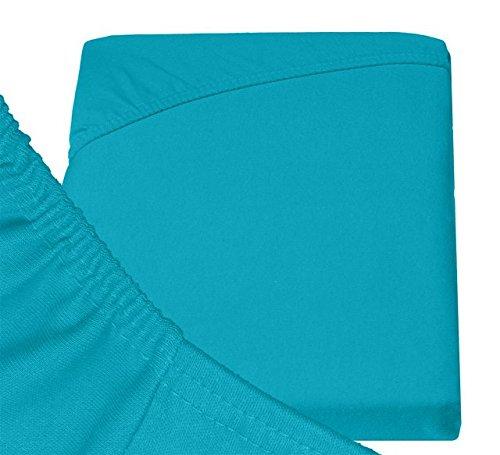Double Jersey – Spannbettlaken 100% Baumwolle Jersey-Stretch bettlaken, Ultra Weich und Bügelfrei mit bis zu 30cm Stehghöhe, 160x200x30 Türkis - 6