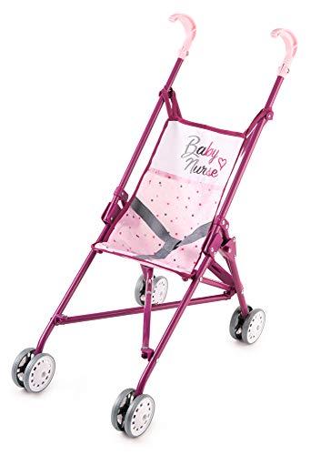 Smoby 220406 Baby Nurse poppenwagen inklapbaar, Puppembuggy, voor kinderen vanaf 2 jaar, roze, paars