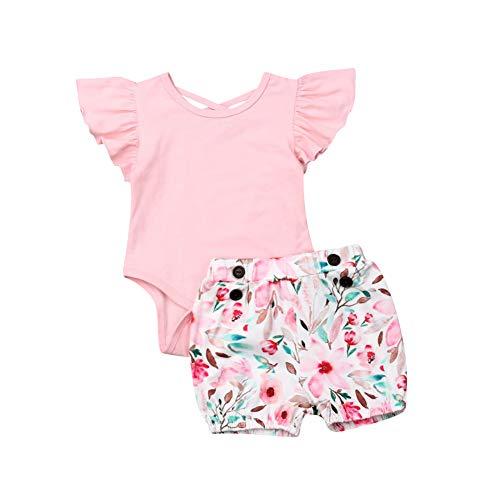 Geagodelia 2tlg Babykleidung Baby Mädchen Body Kurzarm Strampler Blumen ShortsBabyset Neugeborenen Set Sommer Kleidung Outfits (Pink, 12-24 Monate)