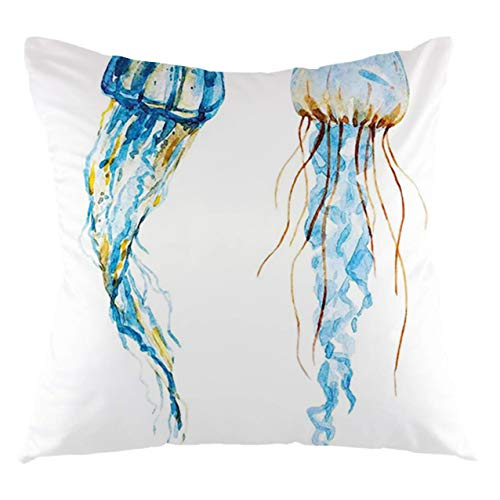 FULIYA Funda de cojín de medusas, medusas exóticas, criatura del océano, animales acuáticos, acuarela, gráfico, decorativo, cuadrado, 22 x 22 pulgadas, azul y blanco