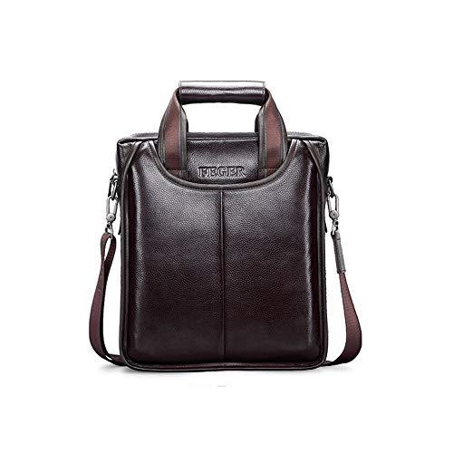 Zzyff Men's Bag Shoulder Bag Leather Messenger Bag Business Briefcase Vertical Paragraph Casual Tide Leather Bag Handbag Waterproof (Color : Brown, Size : L)