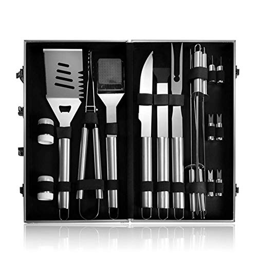 YUYAXPB BBQ Grill Tool Kit, RVS BBQ Utensil Set in Aluminium Case, voor Mannen Papa, BBQ Accessoires voor Outdoor Barbecue/Camping