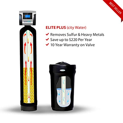 SoftPro Elite Plus High Efficiency 64,000 Grain water softener and filter whole house system using KDF 55 for Chlorine Removal with large brine tank, and Protective Tank Jacket.