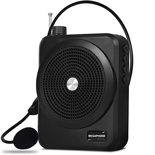 Megafone Amplificador de Voz Microfone Digital Profissional Portátil Dinâmico Mp3 Usb com Rádio Fm Recarregável Para Professores e Palestras