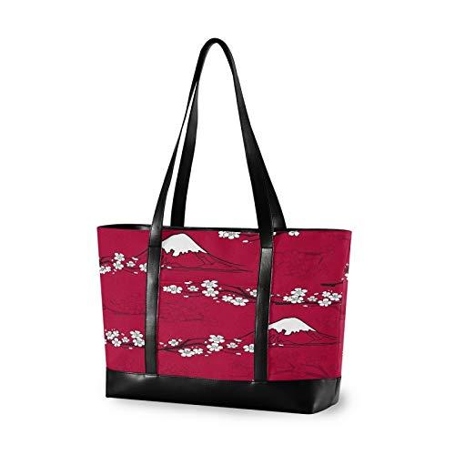 Japanese Fujiyama Red Flower 14 15 15.4 15.6 inch Laptop Tote Bag for Women Large Lightweight and waterproof Computer Handbags Laptop Shoulder Messenger Bag