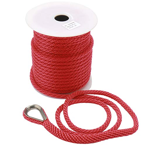 NovelBee 3/8 Inch 50Feet Premium Solid Braid MFP Anchor Line Anchor Rope with Stainless Steel Thimble (Red)