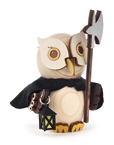 Kuhnert Minieule Nachtwächter Dekofigur Original Erzgebirge Handarbeit Holzfigur Eule in modernem Design Sammlerfigur Eule Dekorationsfigur Mini-Eule