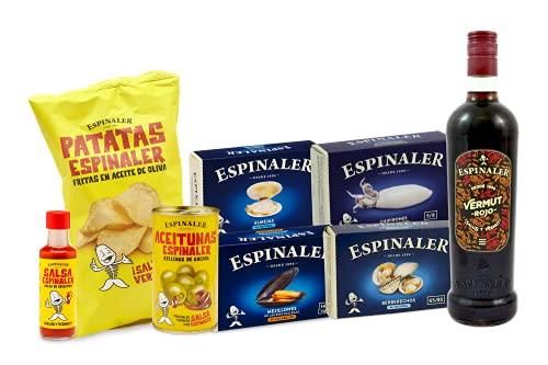 Espinaler cesta gourmet aperitivo | Pack regalo con vermut rojo, salsa Espinaler, patatas fritas, aceitunas rellenas de anchoa, berberechos, almejas, mejillones y chipirones