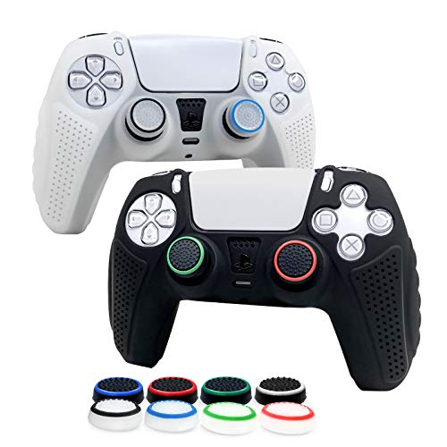 6amLifestyle Funda Protectora Antideslizante y Empuñaduras de Silicona para Mando PS5, Carcasa para Sony Dualsense Playstation5 Controller (2 Blanco y Negro Fundas de Mando PS5 + 8 Joystick Ps5 Grip)