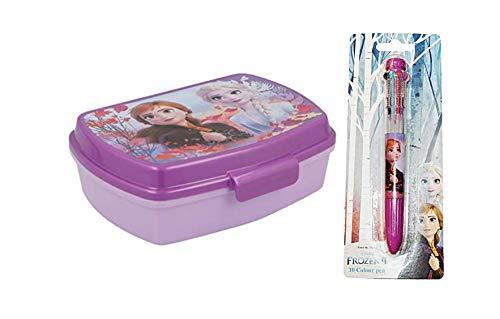 2er Sparset, kompatibel zu Disney Die Eiskönigin 2 Frozen II, Anna und ELSA Brotdose für die Pause in Kindergarten und Vorschule, mit Praktischem Clipverschluß + 10 Farben Stift