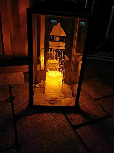 Laterne mit Gravur Leuchtturm - zusätzliche, individuelle Gravur auf zweiter Glasscheibe möglich