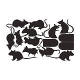 Toyvian pegatina de halloween mouse hole y mouse pvc pegatinas de pared para sala de estar dormitorio 4 sets (negro)
