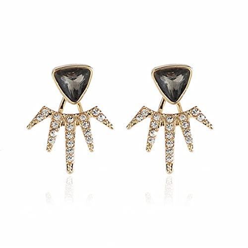 LCUK Nuevos Pendientes de Tuerca de Estrella de Luna de Cristal 2018 para Mujer, joyería de Boda, Chaquetas de Oreja con Cadena Triangular geométrica, Pendientes