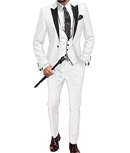 TeaHutty Men's Suits 3 Pieces Regular Fit Notch Lapel Solid Tuxedo for Wedding Groomsmen(Blazer+Vest+Pants)(34R, Beige)