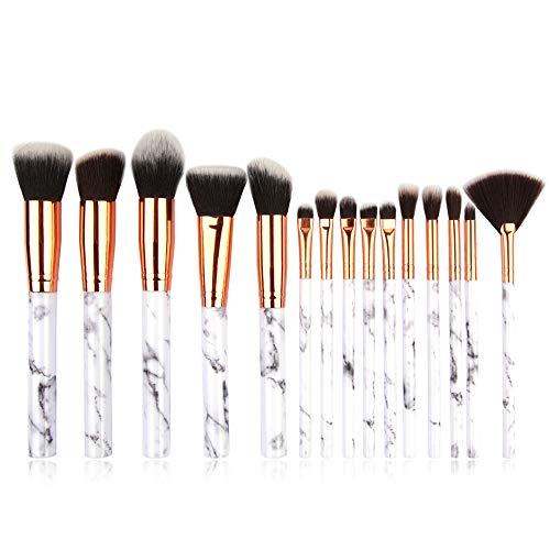 LEXUPE 15 pinceaux de Maquillage Set Professionnel Visage Ombre à paupières Eye-Liner Foundation Blush(Blanc,Soies de Fibres Fines sélectionnées) (Blanc, Taille Unique)