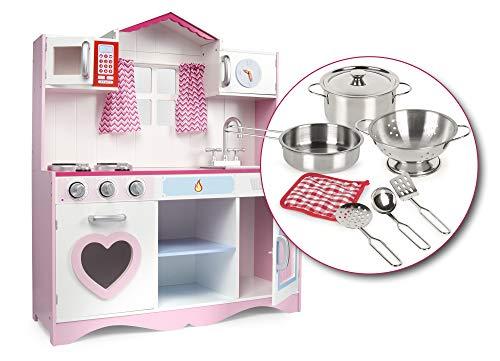 Leomark Cucina Rosa in Legno, Giocattolo per Bambini, Accessori per Cucina, Illuminazione ed Effetti sonori + pentole di Metallo con Accessori + Stoffa Morbida, Pink Play Dimensioni: 82x30x101(A) cm