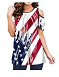 Luranee Ladies Tops Patriotic, Feminine 4th July T Shirts Cold Shouder Scoop Neck Short Sleeve Tunics Comfy Flattering Elegant Loose Fit Independence Day Blouses 2XL