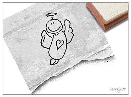 Stempel Motivstempel Schutzengel, Engel - Bildstempel zur Geburt für Karten Deko, Kinderstempel Kita Kinderzimmer Schule Basteln - zAcheR-fineT (groß ca. 19 x 30 mm)