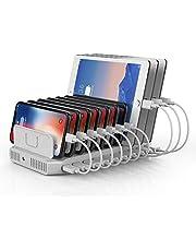 Unitek Mobiele telefoon USB-laadstation, 10 poorten USB-oplader voor meerdere apparaten met SmartIC-technologie en instelbare verdeler, organizer-standaard, compatibel met iPad, tablet, Kindle, iPhone