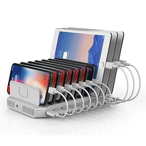 Unitek Multi Charging Station, 10-Port USB Charger for Multiple Device with SmartIC Tech and Adjustable Dividers, Organizer Stand Compatible with iPad, Tablet, Kindle, iPhone