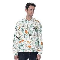 柔らかい メンズ長袖プルオーバーパーカーの花ユニセックススウェットシャツドローストリング (Color : Mixed color, Size : 5XL)
