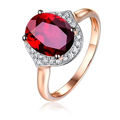 Socoz 18ct Rose Gold Ring for Women Promise,Oval Ruby Rose Gold Wedding Rings Gold for Women