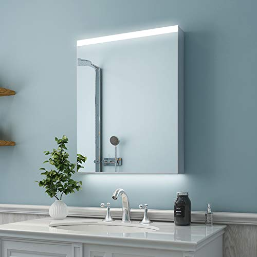 ES-DIY 24 x 30 Inch LED Lighted Bathroom Medicine Cabinet with Mirror, Aluminum Wall Storage Organizer 3 Layer Mirror Cabinet with Adjustable Glass Shelves, Surface Mounting