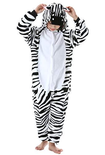 Pijama Animal Entero Unisex para Niños con Capucha Cosplay Pyjamas Ropa de Dormir Traje de Disfraz para Festival de Carnaval Halloween Navidad Cebra para Altura 90-148cm