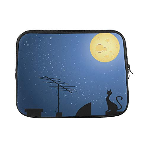 Unique Custom Cat On The Roof at Night Moon Print Protective Laptop Bag Soft Best Laptop Case Briefcase Protective for MacBook Air 11""