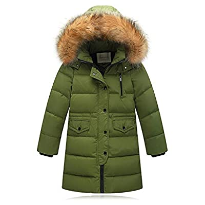 WOCACHI Girls Down Parka, Kids Girls Winter Faux Fur Hooded Parka Down Coat Puffer Jacket Padded Overcoat All Saints' Day Ghosts Witches Candy Sweet Goblin Bone Warlock Bat Dolman Skeleton Green