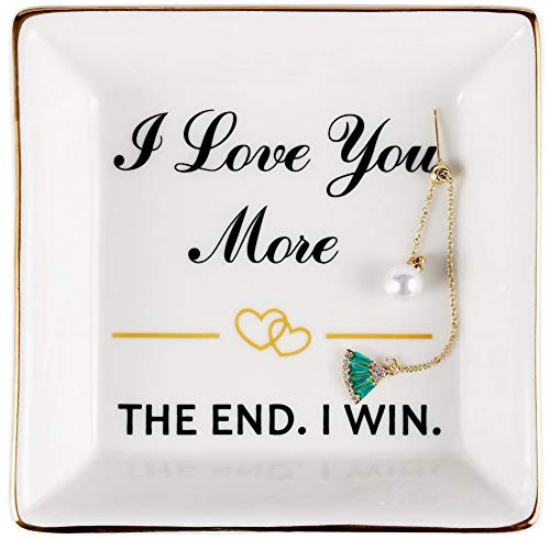 Best Birthday Gifts for Wife, Wife Gifts from Husband, Happy Anniversary - Wife Valentines Gift, Mothers Day, Christmas Wife Gifts for Her, Ring Dish Holder, Jewelry Trinket Tray, I Love You More