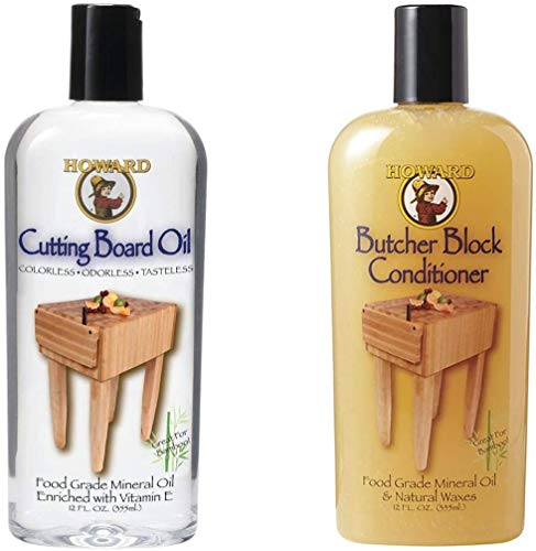 Howard Butcher Block Conditioner and Cutting Board Oil 12 oz, Food Grade Conditioner and Oil, Great for Wooden Bowls and Utensils, Re hydrate your Cutting Blocks