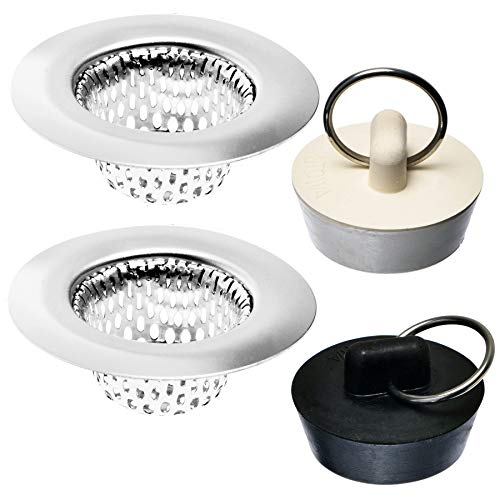 4 Pack - Bathroom Sink Strainers and Stopper Plug Combo - 2.125