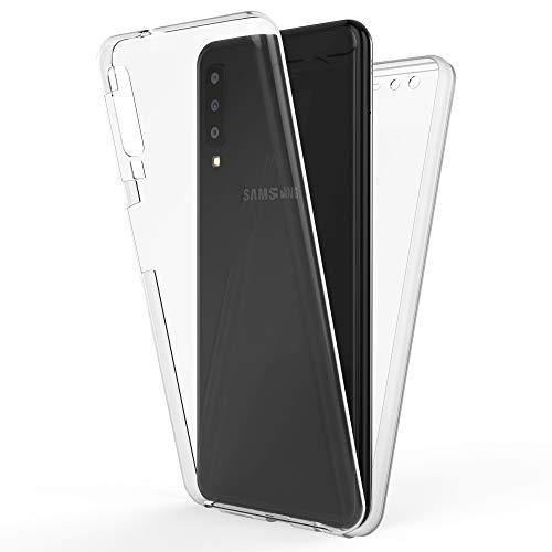 NALIA 360 Grad Handyhülle kompatibel mit Samsung Galaxy A7 (2018), Full-Cover Silikon Bumper mit Bildschirmschutz vorne Hardcase hinten, Hülle Doppel-Schutz, Dünn Ganzkörper Hülle, Farbe:Transparent