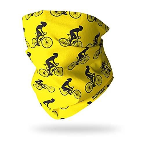 Ruffnek Ciclista Diseño Amarillo y Negro Bufanda con Capucha Multifuncional Calentador de Cuello, Ciclismo Máscara, Pañuelo para Cabeza - Hombre, Mujer & Infantil