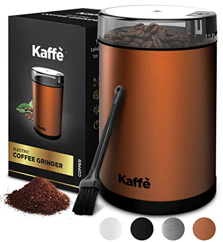 Kaffe Electric Coffee Grinder - Copper - 3oz Capacity with Easy On/Off Button. Cleaning Brush Included. Grind Fresh Coffee Beans Every Time!