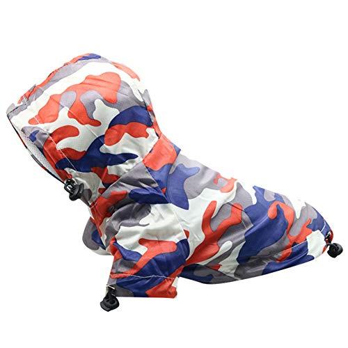 XSARACH Hunde-Regenmantel Hoodie Tarnung Hunde Regencape Professionelle im Freien wasserdichte Kleidung für große, mittlere und kleine Hunde,D,M