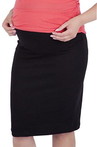 Mija - Maternity pregnnacy Jersey Skirt with Soft Panel 3045 (US 6/8, Black)