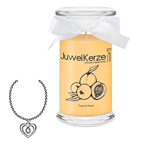 JuwelKerze Tropical Peach - Kerze im Glas mit Schmuck - Große gelbe Duftkerze mit Überraschung als Geschenk für Sie (Silber Halskette & Anhänger, Brenndauer: 90-120 Stunden)