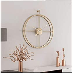 Univer-Co Modern 3D Wall Clocks Battery Operated Decorative 20x24 Round Iron Metal Clock for Living Room, Bedroom, Office (Golden)