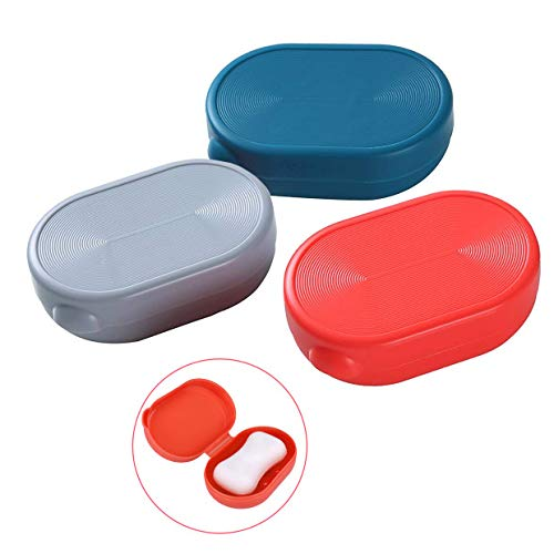 Efivs Arts Soap Case Holder, Bath Soap Box Containers Waterproof Portable Soap Dish for Home Gym Outdoor Camping 3 Pack (Red Blue and Gray)