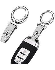Car key holder Key Chain Key Ring Metal Alloy Fashion Style Black Leather Gift Decoration Keyring Accessories (Silver AE)
