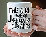 N\A Christian Gift Cupcake Gift This Girl Runs On Jesus And Cupcakes Coffee Mug