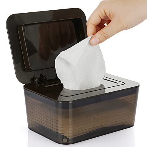 Whiidoom Large Capacity Wipes Dispenser Removable Plastic Wipes Case Keeps Wipes Fresh (Dark Brown)