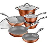 AMERICOOK Nonstick Ceramic Pots and Pans Set, 10-Piece Copper Diamond...