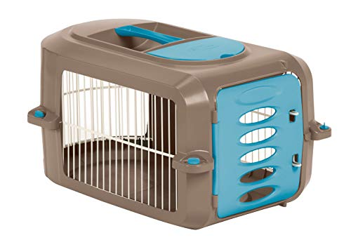 Suncast Portable Dog Crate with Handle for Small and Medium Dogs - Bowl Included - Stylish and Durable Portable Pet Carrier - Dogs up to 30 lbs. - Brown and Light Blue AmazonPets Carriers from Selection Soft-Sided Top
